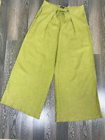 Vintage Womens Gudrun Sjoden Khaki Wide Pants Trousers 100 % Linen Size M