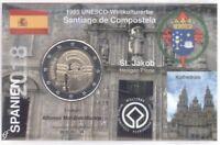 2 Euro Coincard / Infokarte Spanien 2018 Santiago de Compostela