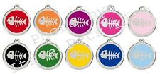 Fish Bone Enamel/Solid Stainless Steel Engraved ID Cat Tag