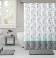 Kate Aurora Yellow & Gray Damask Cherry Blossom Fabric Shower Curtain