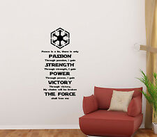 Star Wars Wall Decal Sith Code Vinyl Sticker Vader Movie Poster Decor Mural 25
