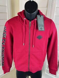 Harley-Davidson Sleeve Logo Graphic Red Full Zip Hoodie, 98613-20VW, Women's S