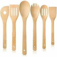 Cooking Utensil Set (6, Natural Bamboo), wooden spoons for cooking, spatula set