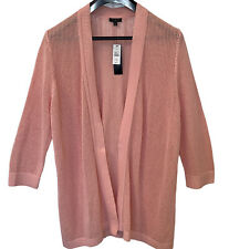 Talbots Plus Size 2X Open Front Cardigan Sweater 3/4 Sleeves Cotton Pink NWT