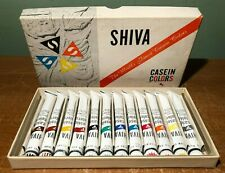 VINTAGE SHIVA CASEIN COLORS PAINT TUBES SET OF 12 IN ORIGINAL BOX