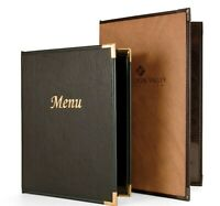 6 MENU COVERS CASEMADE with INSIDE CLEAR POCKETS 8.5x14 TRIPLE POCKET/ 4 VIEW