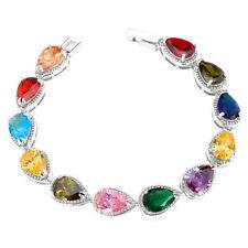 U7 Multicolor Cute Pear Cubic Zirconia Chain Bracelet Platinum Plated Jewelry