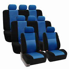 3D Airmesh Design 3Row Blue Black 8Seater Van Auto Truck Seat Covers Full Set