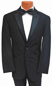 New Men's Black Calvin Klein Tuxedo with Flat Front Pants Satin Notch Lapel 41L