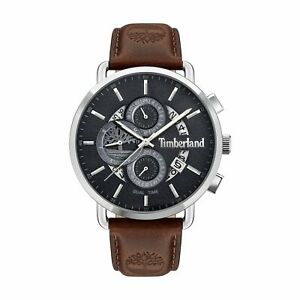 "Timberland ""Lindenwood"" Black Dial Brown Leather Dual Time Watch TDWJF2001202"