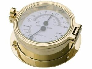 THERMOMETER and HYGROMETER GAUGE, ROYAL MARINER 116mm CAST BRASS #C622TH