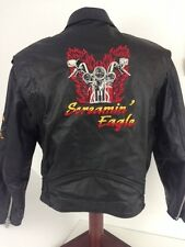 SCREAMIN EAGLE Black Leather Biker Riding Jacket  - Made in Canada - Size XL