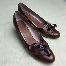 Clarks Ladies Heels 5 Chocolate Brown Leather Satin Ribbon Laces Court Shoes