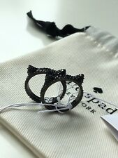 "NWT Kate Spade Jazz Things Up Pave Cat ""Ear"" Ring Set Black/Multi Size 7"