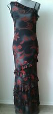 TOY GIRL BY CRIS CONF ONE SHOULDER KLEID LANG 38(D) MESH GRAU ROT MADE IN ITALY!