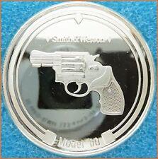 "1 oz .999 Vintage Silver ""SMITH & WESSON GUN MODEL 60"" Art Round 1872"