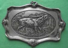 Large c1900 Kayser Zinn Art Nouveau Pewter Roaring Red Deer Stag Card Tray