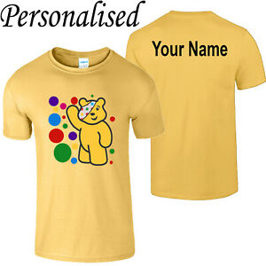 Spotty Pudsey Bear Personalise Kids T Shirt Children In Need Mens Charity Tee