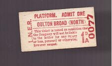 L.N.E.R  Platform Ticket - Oulton Broad ( North)  - Dated 1953