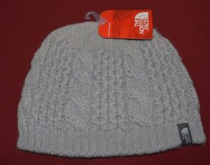 North Face Unisex Beanie Hat Knit Cable Minna One Size Metallic Silver New $35