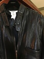GIVENCHY black lambskin leather FR42  jacket  US 6, 8  sleeves zip off to vest