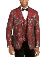 Tallia Mens Suit Separate Red Size Small S Blazer Metallic Floral Slim $350 #027