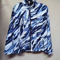Zenergy by Chico's Womens Blue White Zip-Up Windbreaker Jacket Size 2 Pockets