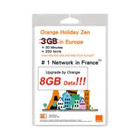 Orange Holiday Europe Prepaid SIM Card 8GB Data in 4G/LTE+ 30mn + 200 Texts