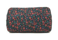 NWT Coach Ranch Floral Print Nylon Cosmetic Case Pouch Black Red Multi F59830