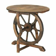 Wood Wagon Wheel End Table indoor/outdoor Home Decor Table Living Room