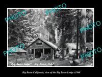 OLD LARGE HISTORIC PHOTO OF BIG BASIN CALIFORNIA, THE BIG BASIN LODGE c1940