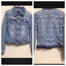 WAREHOUSE UK Size 8 Light Blue Denim Jacket Long Sleeve Button Printed Back