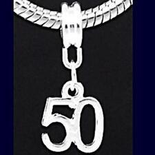 50th Birthday Drop Charm for Silver Charm Bracelet BUY ANY 4=5th FREE m1377