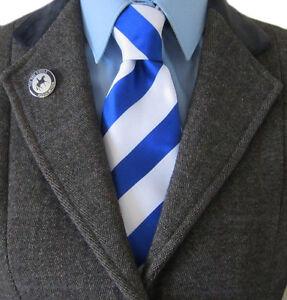 100% Silk Adult Show Tie. Blue & White Striped. NEW