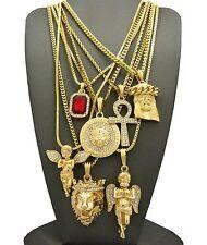 Hip Hop Ruby, 2 Angels, Jesus, Lion, Medusa, Ankh Pendant 7 Necklace Set Rc1835G