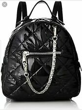 f0b0654631b1 Steve Madden Black Backpack Book Bag B Jammin Quilted Faux Leather Zip Top