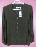 STK3462-NWT CHICO'S TRAVELERS Womens Slinky Knit Jacket Dark Brownish Green 3 XL