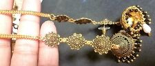 Antique Gold Plated Black Crystal Setting Indian Long Chain Full Jhumka Earrings