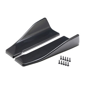 2Pcs Car Bumper Spoiler Carbon Fiber Look Rear Splitter Diffuser Lip Accessories