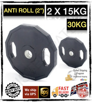 Men's Health Rubber Olympic Weight Plates - 2 x 15kg - (30kg Total) 🌏🇬🇧🇮🇪