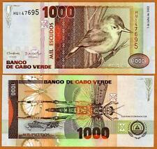 New listing Cape Verde, Africa, 1000 (1,000) Escudos, 2002, P-65b, Unc > Bird, Grasshopper