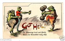 POSTCARD U.S. PRIVATE MAILING CARD FROGS WEIGHTLIFTING