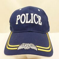 Blue & Gold US POLICE Eagle Wings Embroidered Strapback Solid Back Hat Cap