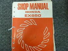 Honda Motor Co. Model EX650 Generator Shop Service Repair Manual Issued 1984