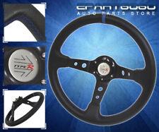 "3.5"" Deep Dish 350mm Pvc Leather Steering Wheel Black Blue Stitching Jdm Euro"