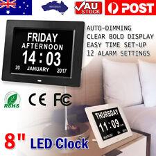 "NEW 8"" LED Clock Large Dementia Digital Wall Calendar Time Day Week Year AU"
