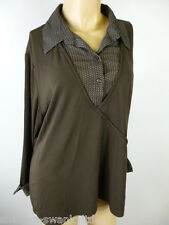 Ladies Brown Patterned Shirt Trim Long Sleeved Work Blouse Top UK 20 EU 48
