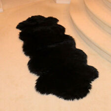 Comfort Genuine Double Pelt Sheepskin LARGE 6'x2' Rug home soft Floor Mat Black