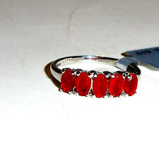 10K White Gold Red Mexican Fire Opal Oval 5-Stone Band Ring, Size 5, 0.72(TCW)