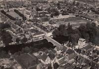 MONTOIRE-SUR-LOIRE vue aérienne pont sur le loir place clémenceau écrite 1973
